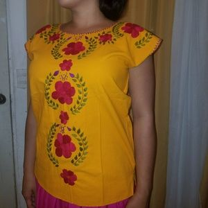 Tops - Boho/Mexican Golden Yellow HAND Embroidered top